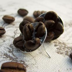kolczyki z kawą w żywicy - Kolczyki - Biżuteria