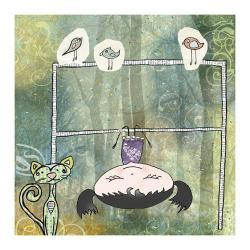 trzepak,kot,ptaszki,dziewczynka,ilustracja - Ilustracje, rysunki, fotografia - Wyposażenie wnętrz