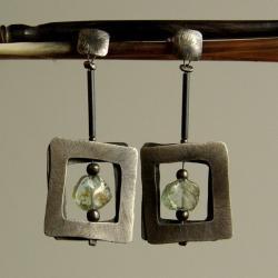srebro,akwamaryn,kolczyki,unikat - Kolczyki - Biżuteria