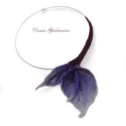 filcowy,kwiaty,kalia,liść,liście,filcowany,filc - Naszyjniki - Biżuteria