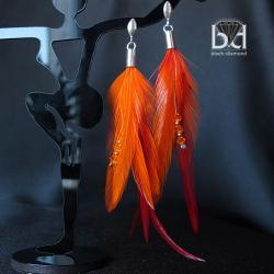 kolczyki z pomarańczowymi piórami - Kolczyki - Biżuteria