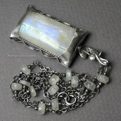 romantyczny,stylowy,z kamieniem księżycowym, - Naszyjniki - Biżuteria
