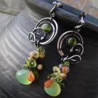 Kolczyki srebro,wire-wrapped,oksydowane,zielone,wiosenne