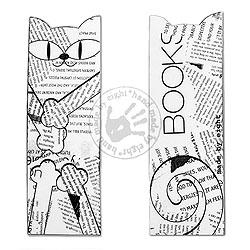 zakładka z kotem,gazeta,black white - Zakładki do książek - Akcesoria