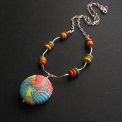 wielobarwny,siła koloru,fiann,fimo - Naszyjniki - Biżuteria