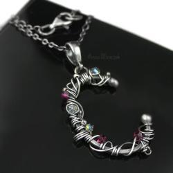 imiennik,alfabet,inicjał,swarovski,srebro,wrapping - Naszyjniki - Biżuteria