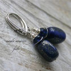 srebro,niebieskie,kolczyki,granatowe,swarovski, - Kolczyki - Biżuteria