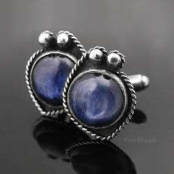 spinki do mankietów,srebrne spinki z kyanitem - Inne - Biżuteria