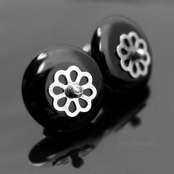 kolczyki z onyksem,wkrętki,sztyfty,małe,drobne - Kolczyki - Biżuteria