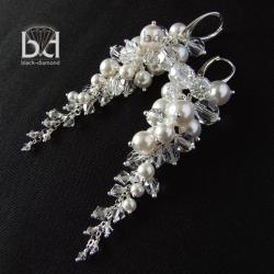 gronka z perłami i kryształami swarovski - Kolczyki - Biżuteria