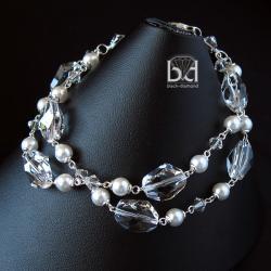 efektowna bransoletka ślubna,perły i kryształy - Bransoletki - Biżuteria