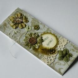 delikatna,romantyczna kartka,kwiaty,ważka - Kartki okolicznościowe - Akcesoria