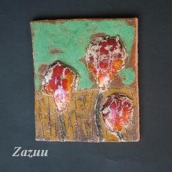 kafel ceramiczny,tulipan,ozdoba na ścianę - Ceramika i szkło - Wyposażenie wnętrz