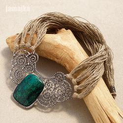 chryzokola,sznurek,pleciony,misterny - Naszyjniki - Biżuteria