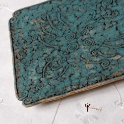 patera,ceramika,kwadrat,turkus,rękodzieło - Ceramika i szkło - Wyposażenie wnętrz