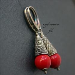 kolczyki,srebro,oksydowane,bali,czerwone,perły - Kolczyki - Biżuteria