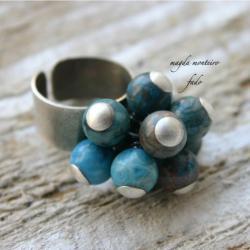 srebro,niebieski,agat,pierścionek,oksydowany,fado - Pierścionki - Biżuteria