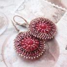 Kolczyki plecione,medaliony,extrano,rubin