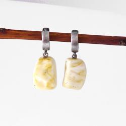 bursztyn naturalny,proste - Kolczyki - Biżuteria
