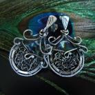 Kolczyki wire-wrapping,kwarc mystic,srebro,sztyfty,