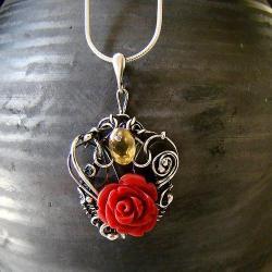 srebro,wire-wrapping,oksydowane,wisior,koral,retro - Wisiory - Biżuteria