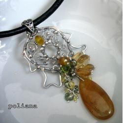 wire-wrapping,cytrynt,elegancki,kwiatowy, - Wisiory - Biżuteria