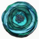 Broszki broszka,satyna,kwiaty polski,niebieski,zielony