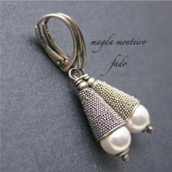 srebro,kolczyki,perły,bali,oksydowane - Kolczyki - Biżuteria