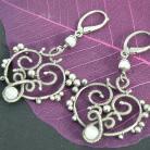 Kolczyki wire-wrapping,srebro,oksydowane,kamień księżycowy,