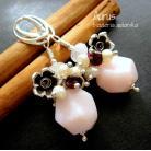 Kolczyki romantyczne kolczyki,opal peruwiański,perły,granat