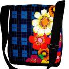 Na ramię torba,listonoszka,kwiaty,A4,granatowy