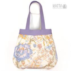 torba w kwiaty,jasna torba,na lato,płótno fiolet - Na ramię - Torebki