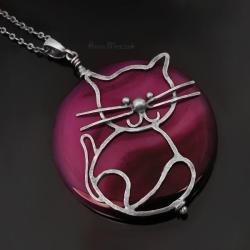 duży wisior z kotem,kot,agat,plaster,minerał,srebr - Naszyjniki - Biżuteria