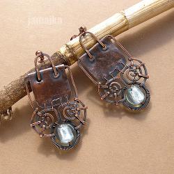 miedź,kute,surowe,ażurowe - Kolczyki - Biżuteria