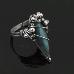 srebrny,oksydowany pierścień z labradorytem - Pierścionki - Biżuteria
