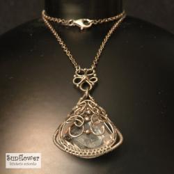 naszyjnik,wrapping,srebro,kryształ,misterny - Naszyjniki - Biżuteria