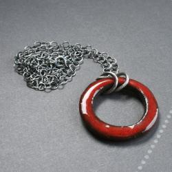 naszyjnik z ceramiką,naszyjnik srebrny - Naszyjniki - Biżuteria