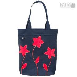 czerwone kwiaty,granatowa torba,rękodzieło - Na ramię - Torebki