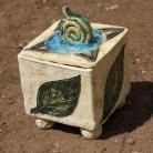 Ceramika i szkło szkatułka,pudełko,liść