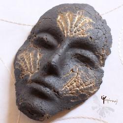 maska,ceramika,unikat,rękodzieło,prezent,złoto - Ceramika i szkło - Wyposażenie wnętrz