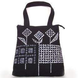 biało-czarna torebka,torba,ręcznie zrobiona - Na ramię - Torebki