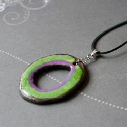 naszyjnik z ceramiką,zieleń z fioletem - Naszyjniki - Biżuteria