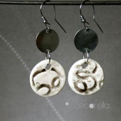 kolczyki ceramiczne,kolczyki srebrne - Kolczyki - Biżuteria