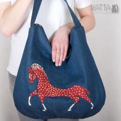 koń,horse,hobo,duża torba,denim - Na ramię - Torebki