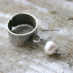 srebro,biały,perła,pierścionek,oksydowany,fado - Pierścionki - Biżuteria