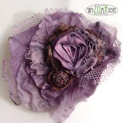 koronka,bawełna,vintage,róża,kwiat,retro,fiołkowy - Broszki - Biżuteria