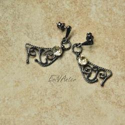 srebro,kolczyki,biżuteria autorska,ornament - Kolczyki - Biżuteria