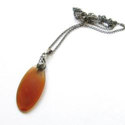 elegancki,kobiecy,czerwony,jesienny,owalny,liście - Naszyjniki - Biżuteria