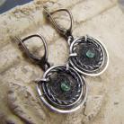 Kolczyki srebro,wire-wrapping,szmaragd,okrągłe,etno,folk