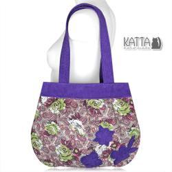 róże,fioletowa torba,torebka na wiosnę,w kwiaty - Na ramię - Torebki